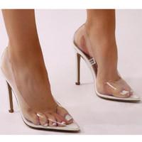 Gtime Net PVC Şeffaf Sandalet Perspex Heel Stilettos Yüksek Topuklar Nokta Ayak parmakları Kadın Partisi Ayakkabı Gece kulübü Pompa XJJ330 pompaları