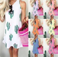 Mujer Cactus Vestidos de cuello redondo Sin mangas Chaleco Vestido Primavera y verano Venta caliente en Europa y América 19jc J1