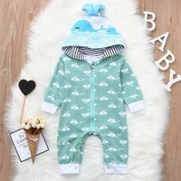 good quality Infant Baby Boys rompers Long Sleeve Whale Cart...