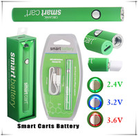 Smart Cart Batterie 380mAh Druckknopf VV vorheizen Variable Voltage Bottom Charge Micro USB Durchgang E Cig Vape Starter Kit