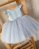 2020 Luxurious Pearls Flower Girl Dresse Ball Gown Tulle Little Girl Wedding Dresses Cheap Communion Pageant Dresses Gowns F305