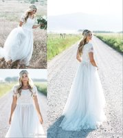 2019 dentelle robes de mariée plage bohème robes de mariée Top dentelle courte sans manches en mousseline de soie une ligne pas cher grande taille robes de mariée sur mesure