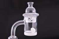Cam bonglar için Carb Cap ve Terp İnci Kadın Erkek 10mm 14mm 18mm Ortak 90 Derece Spinning ile% 100 Kuvars Banger Tırnak
