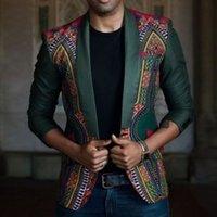 Designer Herrenbekleidung Freizeit Ethnische Gruppe Wind Druck Splicing Slim Fit Kleine Klage beiläufige Mens Blazer Blazer Mode Herren Kleidung-Klagen
