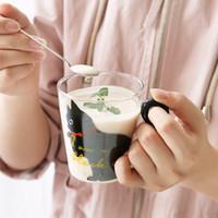 Taza de jugo de la historieta del gatito taza de leche 250 ml Gato lindo creativo taza de cristal taza de agua taza de té Ministerio del Interior por la fruta