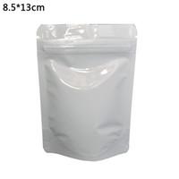 8.5 * 13 cm Branco Brilhante Stand Up Folha De Alumínio Sacos De Embalagem 100 pçs / lote Doypack Zip Bloqueio Saco De Armazenamento De Vácuo De Alimentos Mylar Bolsa Zipper Top sacos