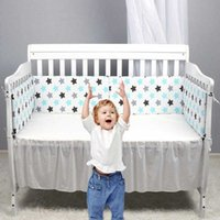 Print Baby Bed Bumper Double- faced Detachable Newborn Crib A...