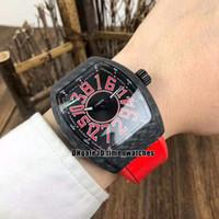 YENİ Miyota Otomatik Erkek İzle Erkek Koleksiyonu Çılgın Saatler V45 SC DT Special Edition Siyah Karbon Fiber İzle Siyah Kırmızı Kauçuk Saatler Dial