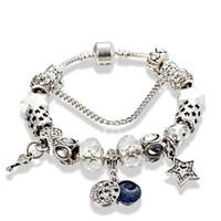 الجملة سوار سحر الكلاسيكية النجوم DIY القمر سوار مطرز أبيض للمجوهرات باندورا مع الاطار الأصلي جودة عالية هدية عيد ميلاد