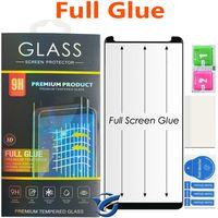 Vidrio curvo de pegamento completo para Samsung Galaxy s10 S9 Plus S8 S8Plus Note8 Note9 5D Curved Edge Full Cover Protector de pantalla de teléfono de vidrio templado