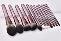High quality Purple Makeup Brushes Set Kits 12pcs set High-Performance Tool Brush Powder Foundation Blusher Eyeshadow tools with makeup bag