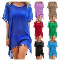 Mulheres Bikini Cover Up 22 cores sólidas Chiffon borlas sunproof Shawl Senhoras Rodada Collar Irregular Swimsuit Cover-Ups Beach Dress 050414