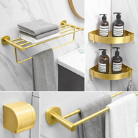Conjunto de acessórios de banho Acessórios de banheiro de alumínio Toalheiro suporte de papel titular de canto prateleira toalete escova gancho hardware ouro