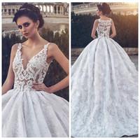 2021 V-образным вырезом Кружева Аппликации бальное платье свадебное платье из бисера Кристалл Формальные Длинные Свадебные платья Modest Vestidos De Брак Bling Bling