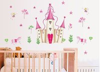 new arrival Removable Pink Princess Castle Girl room Tower W...