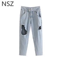 NSZ Kadınlar Denim Pantolon Yüksek Bel Yıkanmış Delikler Kot Pantolon Pocket Fermuar Kalem Pantolon Tahrip