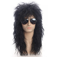 Long preto encaracolado homens perucas de alta temperatura fibra sintética 80s punk balancer capeleiro headgear para o dia das bruxas