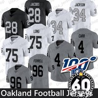Oakland Josh Jacobs Jersey 4 Derek Carr 24 Marshawn Lynch 34 Bo Jackson 96 Clelin Ferrell 60a Patch Football jerseys