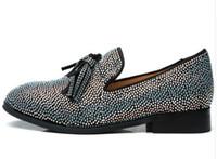 2019 Uomo Slip-on Frangia nappa Mocassino multicolore piatto di cristallo strass Prom Weddings Scarpe scarpe casual per uomo