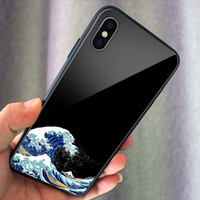 Wave phone case Glass Phone Cover for iphone 11 pro Max XR Samsung Note9 Note10+ S9 s10 S10e plus