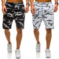 Uomo Casual Camo brevi pantaloni della tuta sportiva Mens Shorts Estate Hiphop tasca del camuffamento allentati Cargo Shorts da uomo in cotone
