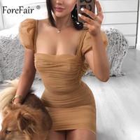 Слоеный рукав сетки сексуальное платье прозрачный мини квадратный вырез винтажная мода Клубная вечеринка Bodycon платье женщины S-XL