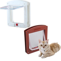 Marco creativo Bloqueo de 4 vías Bloqueable Magnético Pet Cat Small Dog Flap Door Cat Supplies White Brown