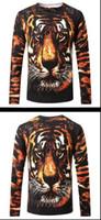 Neuer Pullover im Frühjahr und Herbst des Außenhandels, gestrickter Strickpullover für Herren mit 3D-Print und Tiger-Pullover