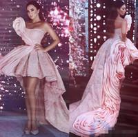 Modest Alta Rosa Rosa Vestidos De Aves 2019 Dubai Estilo Árabe Comboio Longo Pageant Dos Vestidos De Festa Strapless Cocktail Noite Vermelho Capítulo Vestido