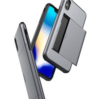 Pour iPhone 12 Mini 11 PRO XS MAX XR x 6S 7 8 plus cas de téléphone portable TPU TPU PC Hybrid Card Carte de crédit Slots Cas de téléphone