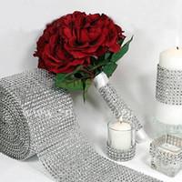 Gümüş Elmas Rhinestone Çiçek Örgü Wrap Rulo Kristal Rhinestone Sparkle Kurdele DIY Kek Rulo Düğün Parti Süslemeleri
