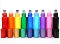 Mavi / yeşil / pembe / siyah / amber mini 10 ml rulo cam şişe kokular için uçucu yağlar paslanmaz çelik rulo top