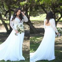 2020 Plus Размер Свадебные платья A Line Кружева аппликация V образным вырезом с длинным рукавом Чехи Свадебные платья Поезд стреловидности сшитое Vestidos де Novia