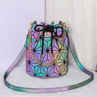 Pink Sugao designer shoulder bag women purse 2020 new casual luminous bucket bag Lingge women's shoulder bag pu leather