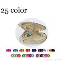 2020 fai da te 6-7mm d'acqua dolce Akoya ostrica con perla singola misto 25 colori di qualità superiore Circle perla naturale nella confezione sottovuoto per il regalo