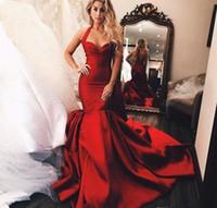 Темно-красный Холтер шеи Вечерние платья Саудовская Аравия Дубай Русалка рукавов отдыха Wear Формальное партии Плюс Размер Пром Gowns