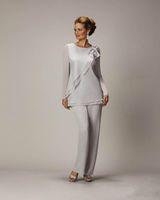 2020 Zarif Plus Size Gelin Damat Boncuklu şifon Düğün Abiye Giyim Balo Elbise Annesi İçin Gümüş Anneler Pantolon Suit