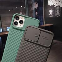 Uygun Fit Sürgülü Kapı Koruma Lens Kılıfları Apple iPhone 11 için 12 Pro Max Katı Renk Cep Telefonu Arka Kapak Yumuşak Silikon CAS