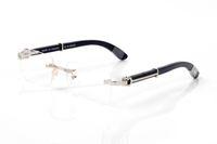 Mode aus Holz Hardware Glas-randlose Frames Männer Frauen Lesebrille-Rahmen-Brillen Schwarz Buffalo Horn Brille Lünetten femme