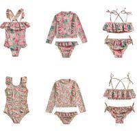 اطفال جديد الاطفال المايوه الفتيات الأزهار المطبوعة السباحة أطفال falbala ملابس السباحة الطفل الشاطئ طفح الحرس قمصان A2838