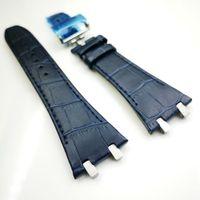 27mm Azul escuro de alta qualidade pulseira de couro 18mm Deployment Clasp Strap 4 Conector 4 Parafuso 2 Link para AP Royal Oak 15400/15300