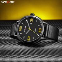 WEIDE High Quality Brand Fashion Casual Calendar Quartz Analog Auto Date Mens Clock Wristwatches Black PU Leather Strap Hours
