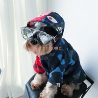 Tide Shark Head Pets Apparel Tinto E Azul Patchwork Camo Sweatshirts Autumn Winter Dog Outwear Free Shipping