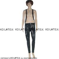 Jambières Latex Sexy noir avec bretelles Ceintures zippée et boutonnée Fétiche Bondage caoutchouc Pantalons Jeans Pantalons Plus Size 0003