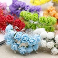 도매 -12pcs / lot MIni 발렌타인 선물 인공 실크 꽃 장식 꽃다발을 들고 꽃 장식 웨딩 파티에 대 한 꽃 레이스 거품을 로즈