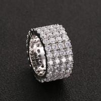 13 mm Tamaño 6-12 4 filas de plata anillo de tenis de oro de cobre joyería Cubic Zircon heló hacia fuera los anillos de Hip Hop