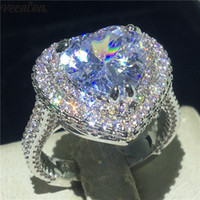 Vecalon 빈티지 심장 약속 반지 여성 신부 손가락에 보석 925 스털링 실버 5A Cz에 약혼 결혼 반지 반지