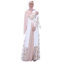 Abbigliamento etnico Fiore aperto Abaya Turchia Kimono Dubai Dress Abito musulmano Abayas Kaftan Women Caftano Islamic Jilbab Cocktail Gown Party Robe