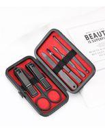 7pcs / set de manicura negro de acero inoxidable tijera cuchara oído clip de herramientas de manicura de uñas tijeras de uñas de cejas