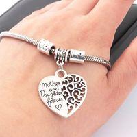 Herz Charm Armbänder Mutter und Tochter für immer Liebe Anhänger Armreif Antik Silber Brecelet Frauen Mädchen Vintage Schmuck Chritmas Geschenk